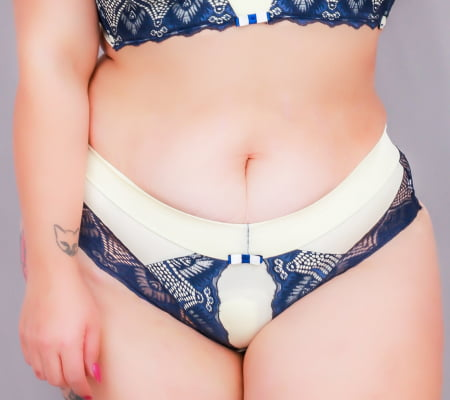 Conjunto Bicolor Franzido Arrasa - Curves Azul