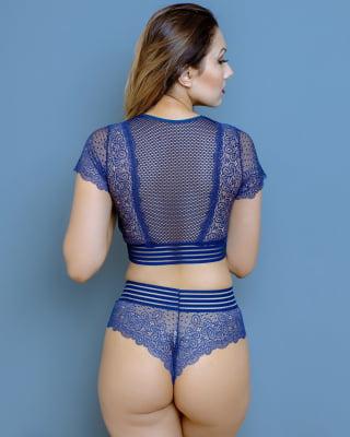 Conjunto Cropped Elastic Juju - Slim Azul Marinho