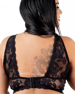 Conjunto Cropped Renda Larga Fashion - Plus Preto